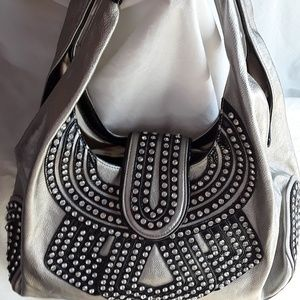 New Pewter and Black Rhinestone Studded Handbag